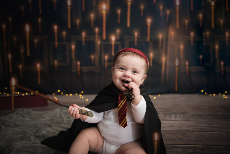 harry potter themed mini session for 9 month baby
